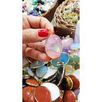 Jóia/ Pingente Pedra Quartzo Rosa Folh. Ouro Cabochão /3cm