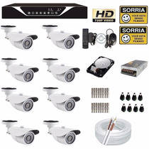 Kit 8 Cameras Ahd-m Hdcvi 720p Dvr 8 Canais Tudo Ahd* Hd 1tb
