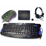 Kit Gamer Teclado 3 Led  + Mouse 3200 Dpi Led + Fone Headset
