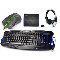 Kit Gamer Teclado 3 Led + Mouse 3200 Dpi Led + Fone Headset
