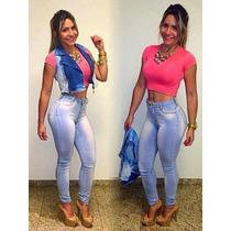 Calça Jeans Hot Pant Com Elastano Cós Alto Atacado 6 Peças