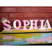 Letras Em Mdf Decoradas Princesa, Coroa, Princesa Sofia Nome