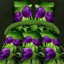 Jogo De Cama Lençol Em 3d 2 Fronha Capa Edredom Plantas