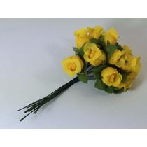 144 Mini Rosas Amarelas Flores Rosinhas Artificiais Cetim