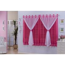Cortina Manoella 2,00mx1,70m P/quarto Infantil Pink E Branco