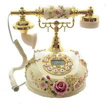 Telefone Vintage Antigo Decoração Flores Alto Relevo Retro