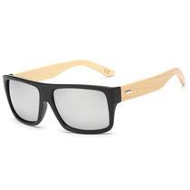 Óculos Escuros Masculino De Madeira Hastes Bamboo Espelhado