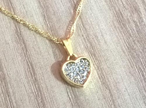 Colar Coração Com Strass Folheado A Ouro 18k 844875fab4