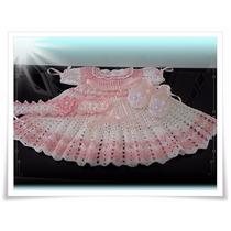 Lindo Conjunto Vestido Bebe, Crochê. Ótimo P Batizado