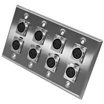 Placa De Parede De Aço Inoxidável - Oito Conectores Xlr