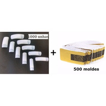 1000 Unhas Natural Nail Tips + 500 Moldes Adesivo Gel Uv
