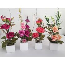 Arranjo Minide Flores Artificiais Em Vaso De Porcelana