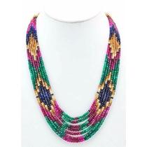 Colar Multicolorido Esmeraldas Safiras Rubis E Citrinos 7v