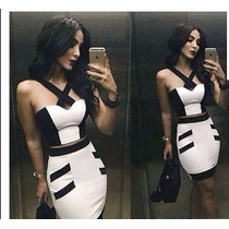 Conjunto Social Feminino De Blusa Cropped Com Saia Bicolor