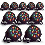 Kit Com 10 Canhão Led Par 64 Rgb Led 3w Dmx Strobo Digital