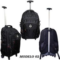 Mochila Notebook C/ Carrinho E Rodinhas Executiva Viagem