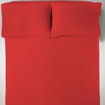 Lençol + 2 Fronhas Casal Vermelho Malha Penteada 30cm Altura