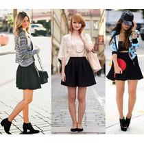 Saia Gode Rodada Moda Preto E Branca Looks Para O Verão