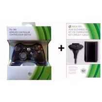 Kit Controle P/ Xbox360 Sem Fio Original Feir + Bateria