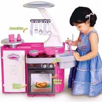 Mini Cozinha Infantil Completa Fogão Armario Panela Cotiplas