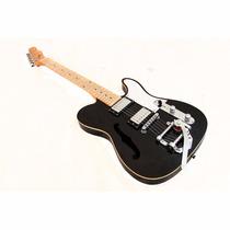 Guitarra Gbspro Telecaster Semi-acustica Preta Bigsby H-h
