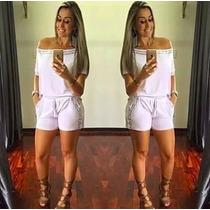 Conjunto Camiseta E Shorts Com Pedraria Feminino Bordado