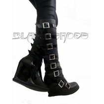 Bota Couro Black Shoes