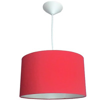 Luminária Pendente Cilíndrica Tecido Vermelho 35cm