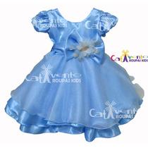 Vestido Festa Infantil Cinderela Tam 1 Ao 5 Com Coroa