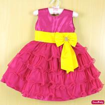 Vestido Rosa Pink Princesa Infantil Festa Luxo Com Tiara