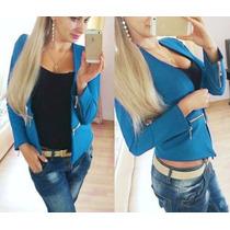 Blazer Feminino Importado Tamanho G Azul