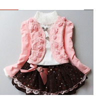 Vestido Conjunto Criança Menina Infantil Bordado 4 A 6 Anos