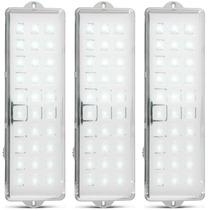 Kit 3 Luzes De Emergência Ecp Com 30 Leds Módulo Emergência