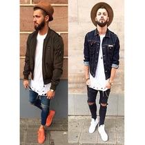 Calça Jeans Premium Kit 2 Pçs Lycra Skinny Rasgada Masculina