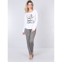 Pijama Blusa E Calça Feminino Sonhos - Branco
