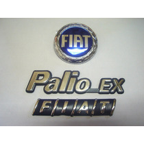 Kit Emblemas Palio Ex + Mala Fiat + Capo Azul 98/00 - Bre