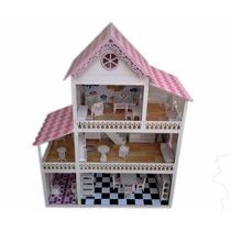 Casa Casinha De Boneca Polly Em Mdf Pintada Com Moveis