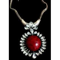 Colar Vermelho Indiano Pedra Strass Corrente Acessórios Moda