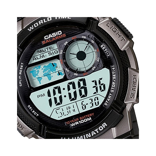 dc84dc329 Relogio Casio Ae 1000w-1b Borracha Mapa Cronometro 5 Alarmes em Belo ...