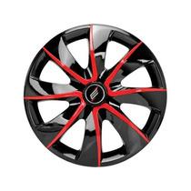 Calota Esportiva Aro 13 Black Red Carro Automotiva ( Jogo )