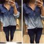 Camisa Blusa Jeans Degrade Feminina Manga Longa Pronta Entre