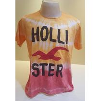 Camisetas Hollister Estampadas Algodão - Kit Com 2 Unidades