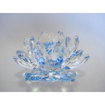 Flor De Lótus De Cristal Azul 11cm