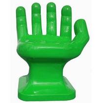 Cadeira Plastica Formato Mão Pequena Decorativa - Verde