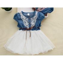 Vestido Infantil Princesa Festa Jeans Menina Criança Cinto