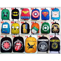 Lote 10 Mochilas Anime Comics Super Heróis Geek Personagens