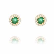Brincos Em Ouro 18k Com Esmeralda E Diamantes - Cwb Joias
