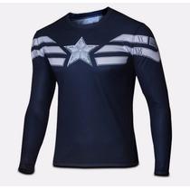 Camiseta Camisa Capitão América Manga Longa Oferta