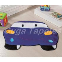 Tapete Infantil Em Pelúcia Carro Azul Royal Divertido