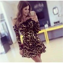 Vestido Onça / Leopardo Com Tule A Pronta Entrega